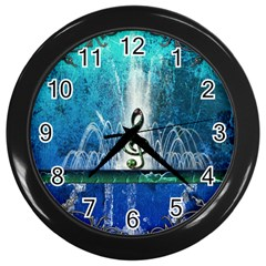 Clef With Water Splash And Floral Elements Wall Clocks (Black) by FantasyWorld7