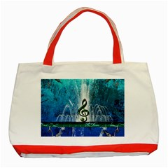Clef With Water Splash And Floral Elements Classic Tote Bag (red)  by FantasyWorld7