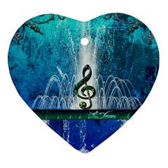 Clef With Water Splash And Floral Elements Heart Ornament (2 Sides)