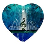 Clef With Water Splash And Floral Elements Heart Ornament (2 Sides) Back