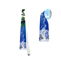 Clef With Water Splash And Floral Elements Neckties (one Side)