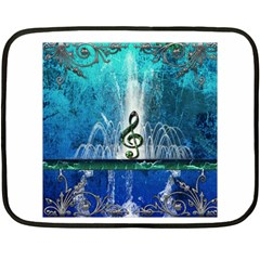 Clef With Water Splash And Floral Elements Fleece Blanket (mini) by FantasyWorld7