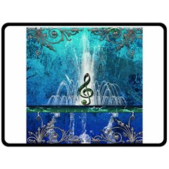 Clef With Water Splash And Floral Elements Fleece Blanket (large)  by FantasyWorld7