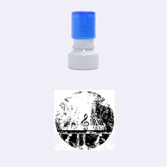 Clef With Water Splash And Floral Elements Rubber Round Stamps (small)