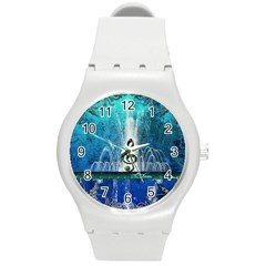 Clef With Water Splash And Floral Elements Round Plastic Sport Watch (m) by FantasyWorld7