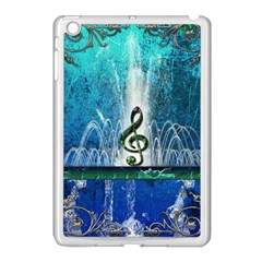 Clef With Water Splash And Floral Elements Apple Ipad Mini Case (white) by FantasyWorld7