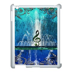 Clef With Water Splash And Floral Elements Apple Ipad 3/4 Case (white) by FantasyWorld7