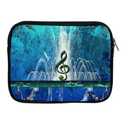 Clef With Water Splash And Floral Elements Apple Ipad 2/3/4 Zipper Cases by FantasyWorld7