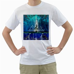 Clef With Water Splash And Floral Elements Men s T Shirt (white)  by FantasyWorld7