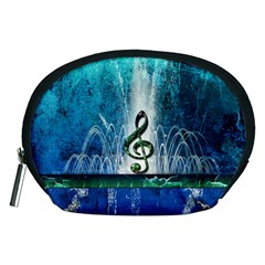 Clef With Water Splash And Floral Elements Accessory Pouches (medium)  by FantasyWorld7