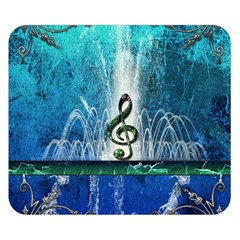 Clef With Water Splash And Floral Elements Double Sided Flano Blanket (small)  by FantasyWorld7