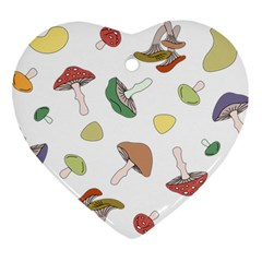 Mushrooms Pattern 02 Ornament (heart)  by Famous