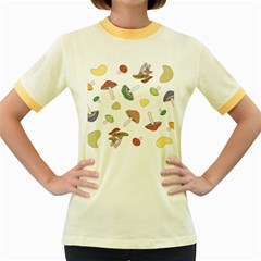 Mushrooms Pattern 02 Women s Fitted Ringer T Shirts by Famous