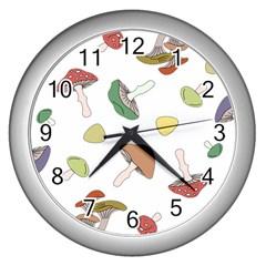 Mushrooms Pattern 02 Wall Clocks (silver)  by Famous
