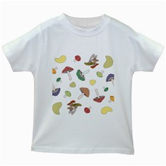 Mushrooms Pattern 02 Kids White T Shirts by Famous