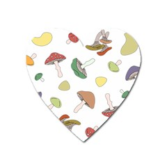 Mushrooms Pattern 02 Heart Magnet by Famous