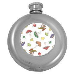 Mushrooms Pattern 02 Round Hip Flask (5 Oz) by Famous