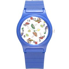 Mushrooms Pattern 02 Round Plastic Sport Watch (s) by Famous
