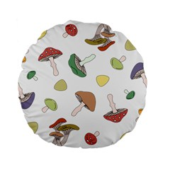 Mushrooms Pattern 02 Standard 15  Premium Flano Round Cushions by Famous