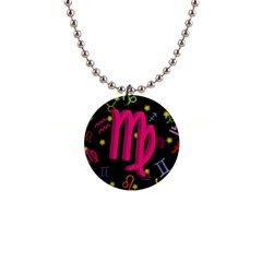 Virgo Floating Zodiac Sign Button Necklaces by theimagezone