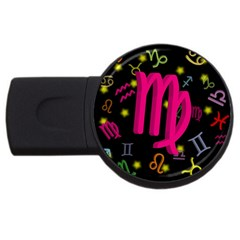 Virgo Floating Zodiac Sign Usb Flash Drive Round (4 Gb)  by theimagezone
