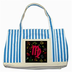 Virgo Floating Zodiac Sign Striped Blue Tote Bag  by theimagezone