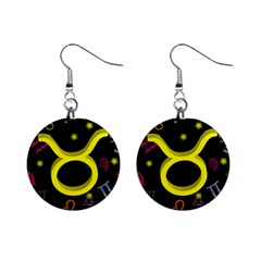Taurus Floating Zodiac Sign Mini Button Earrings by theimagezone