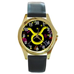 Taurus Floating Zodiac Sign Round Gold Metal Watches by theimagezone