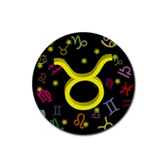 Taurus Floating Zodiac Sign Rubber Coaster (round)  by theimagezone