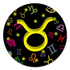 Taurus Floating Zodiac Sign Magnet 5  (round) by theimagezone