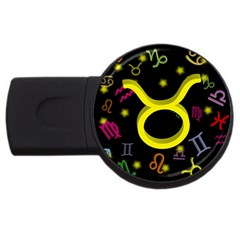 Taurus Floating Zodiac Sign Usb Flash Drive Round (4 Gb)  by theimagezone
