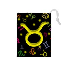 Taurus Floating Zodiac Sign Drawstring Pouches (medium)  by theimagezone