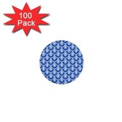 Awesome Retro Pattern Blue 1  Mini Buttons (100 Pack)  by ImpressiveMoments