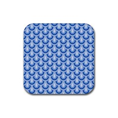 Awesome Retro Pattern Blue Rubber Square Coaster (4 Pack)  by ImpressiveMoments