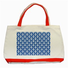 Awesome Retro Pattern Blue Classic Tote Bag (red)  by ImpressiveMoments