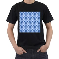 Awesome Retro Pattern Blue Men s T Shirt (black) by ImpressiveMoments