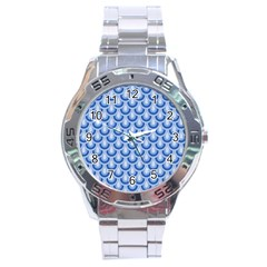 Awesome Retro Pattern Blue Stainless Steel Men s Watch by ImpressiveMoments