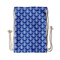 Awesome Retro Pattern Blue Drawstring Bag (small)