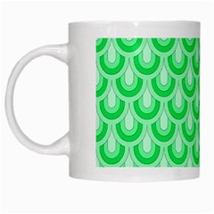 Awesome Retro Pattern Green White Mugs by ImpressiveMoments