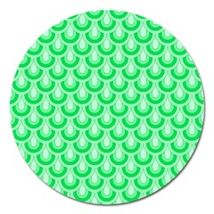 Awesome Retro Pattern Green Magnet 5  (round) by ImpressiveMoments