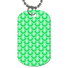 Awesome Retro Pattern Green Dog Tag (Two Sides) by ImpressiveMoments