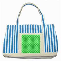 Awesome Retro Pattern Green Striped Blue Tote Bag  by ImpressiveMoments
