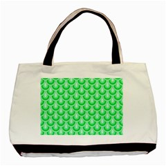 Awesome Retro Pattern Green Basic Tote Bag (two Sides)  by ImpressiveMoments