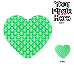 Awesome Retro Pattern Green Multi Purpose Cards (heart)  by ImpressiveMoments