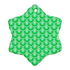 Awesome Retro Pattern Green Snowflake Ornament (2 Side) by ImpressiveMoments