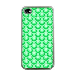 Awesome Retro Pattern Green Apple Iphone 4 Case (clear) by ImpressiveMoments
