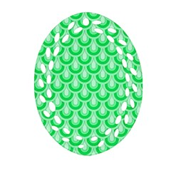 Awesome Retro Pattern Green Ornament (oval Filigree)  by ImpressiveMoments