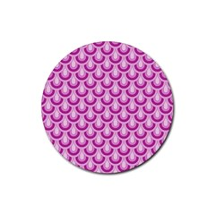 Awesome Retro Pattern Lilac Rubber Coaster (round)  by ImpressiveMoments