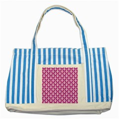 Awesome Retro Pattern Lilac Striped Blue Tote Bag  by ImpressiveMoments