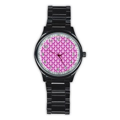 Awesome Retro Pattern Lilac Stainless Steel Round Watches by ImpressiveMoments